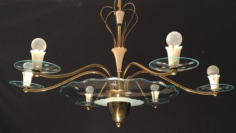 Mid-Century Modern 1940s Elegant Italian Chandelier, Pietro Chiesa Style for Fontana Arte For Sale