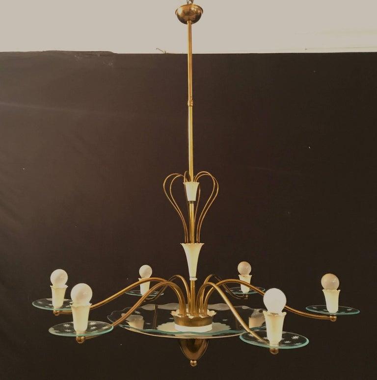 Mid-20th Century 1940s Elegant Italian Chandelier, Pietro Chiesa Style for Fontana Arte For Sale