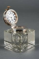 English Hallmarked Antique Sterling Silver & Cut Glass Desk Clock & Ink Well