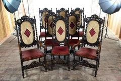 19th century English Renaissance set of 12 Dining Chairs w/Barley Twist
