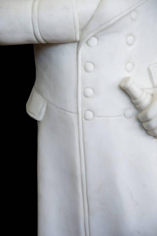 20th Century White Carved Marble Figure of the Famous Napoleon with One Hand is His Jacket For Sale