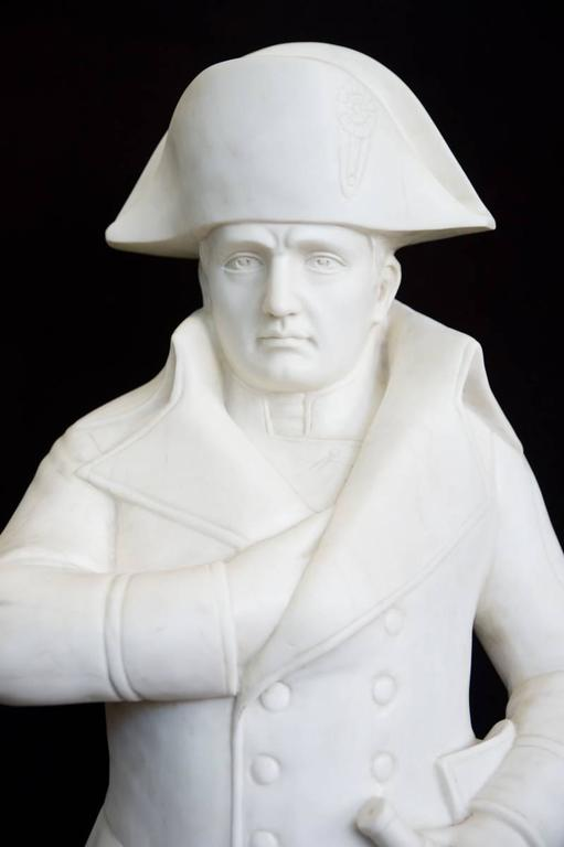 White Carved Marble Figure of the Famous Napoleon with One Hand is His Jacket For Sale 1