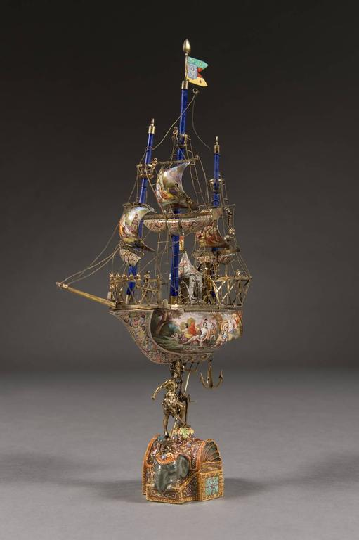 Victorian A Very Fine Viennese Parcel-Gilt Silver and Enamel Sailing Ship by Rudolf Linke For Sale