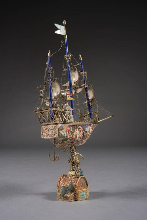 Austrian A Very Fine Viennese Parcel-Gilt Silver and Enamel Sailing Ship by Rudolf Linke For Sale
