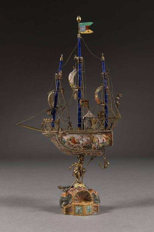 19th Century A Very Fine Viennese Parcel-Gilt Silver and Enamel Sailing Ship by Rudolf Linke For Sale