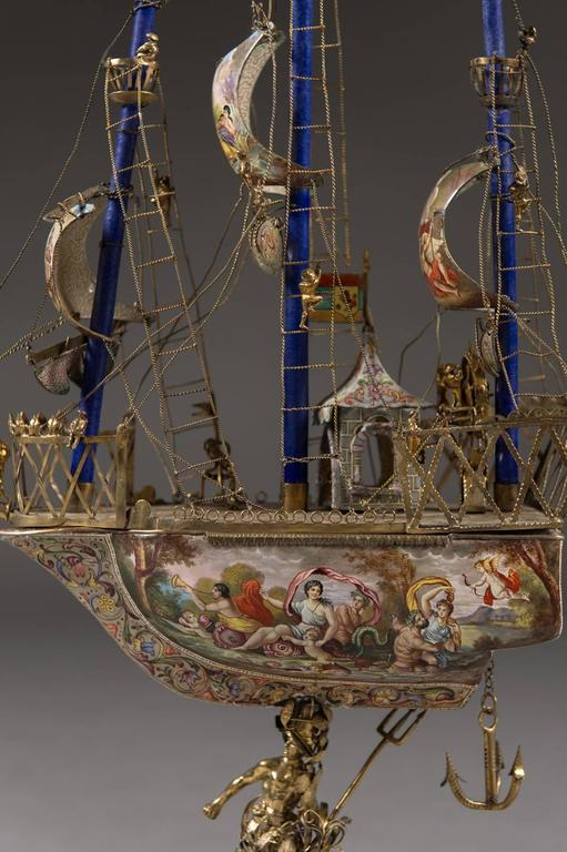 A Very Fine Viennese Parcel-Gilt Silver and Enamel Sailing Ship by Rudolf Linke For Sale 1