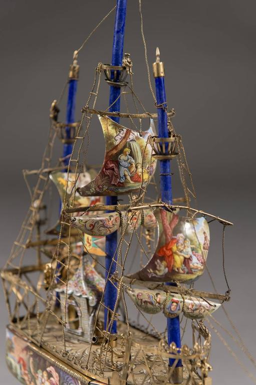 A Very Fine Viennese Parcel-Gilt Silver and Enamel Sailing Ship by Rudolf Linke For Sale 3