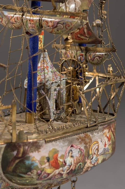 A Very Fine Viennese Parcel-Gilt Silver and Enamel Sailing Ship by Rudolf Linke For Sale 2