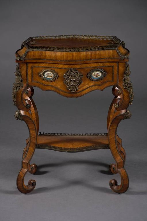 Hand-Carved Fine Pair of French Rococo Style Bonze Mounted Side Tables/Planters For Sale