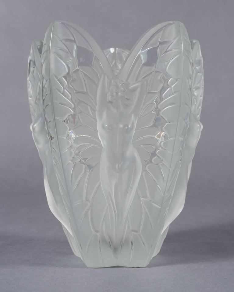 large lalique france frosted and clear chrysalide vase at 1stdibs. Black Bedroom Furniture Sets. Home Design Ideas