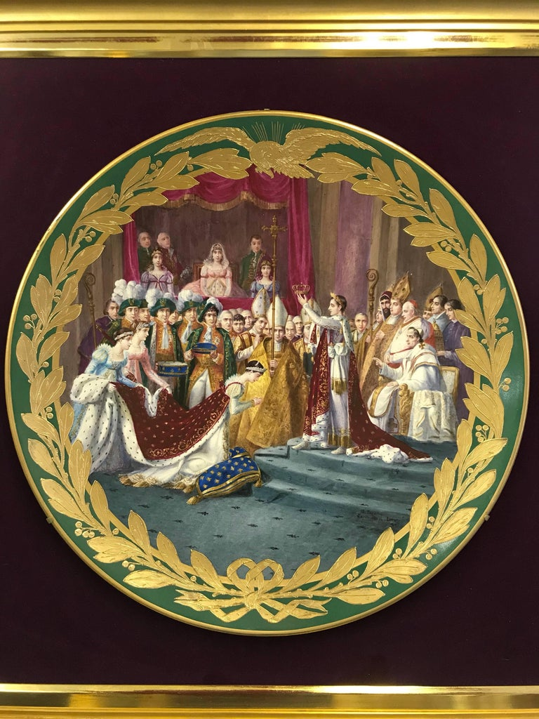 Hand-Painted French Sevres Green Ground Porcelain Framed Charger Napoleon Courting Josephine For Sale
