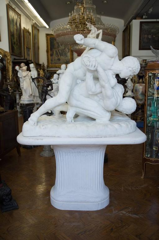 an italian white marble sculpture of roman wrestlers by antonio frilli for sale at 1stdibs
