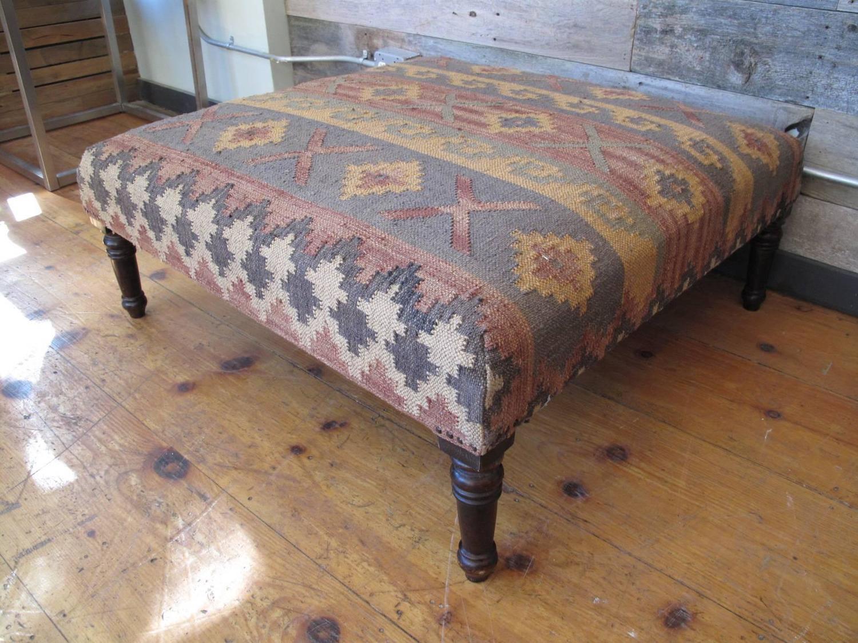 Kilim Upholstered Ottoman