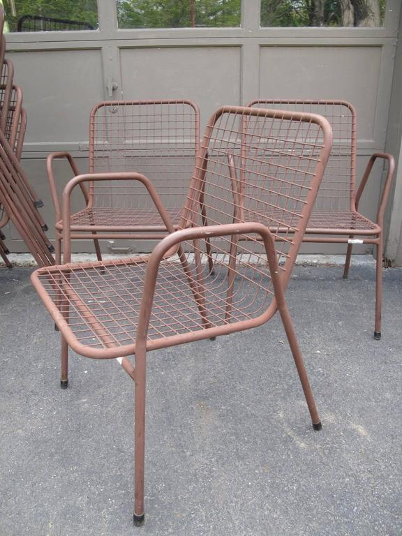 Nine Wire Mesh Outdoor Chairs Made In Denmark At 1stdibs