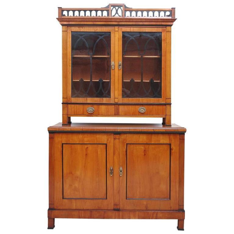 Austrian Biedermeier Cupboard/Bar Cabinet in Cherry with Vitrine, circa 1820