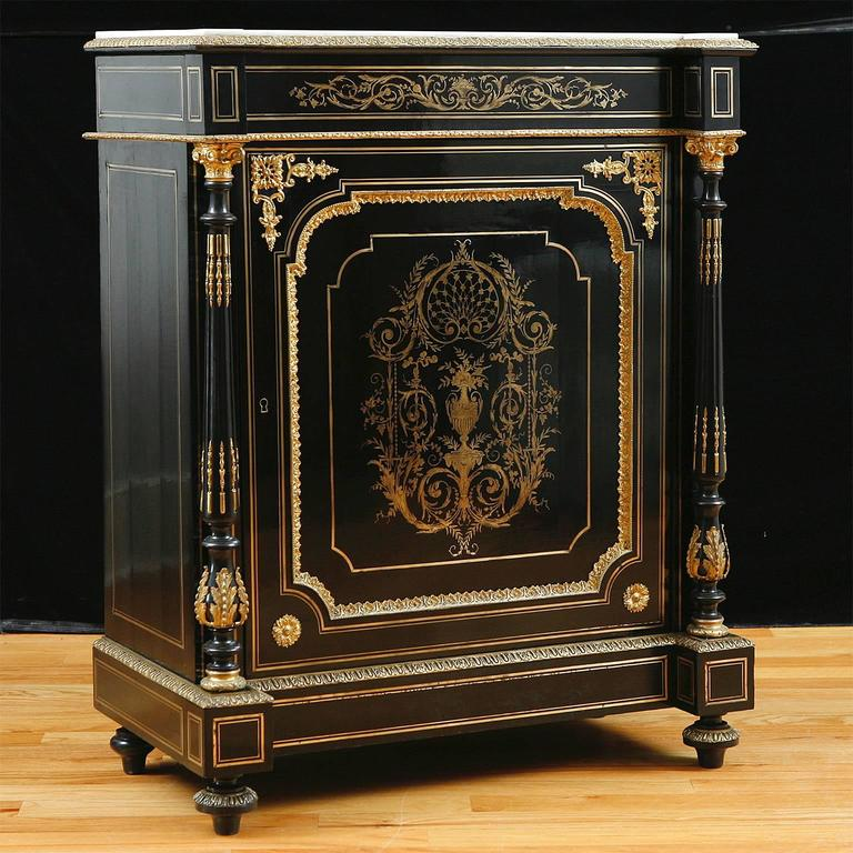 French Napoleon Iii Ebonized Boulle Cabinet Circa 1870 At