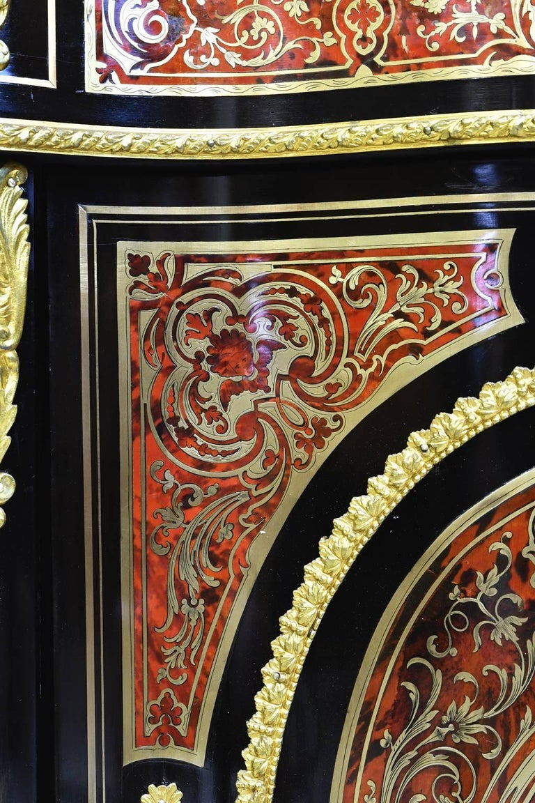 Brass Napoleon III Serpentine-Front Boulle Cabinet w/ Inlays & Marble, France, c. 1880 For Sale
