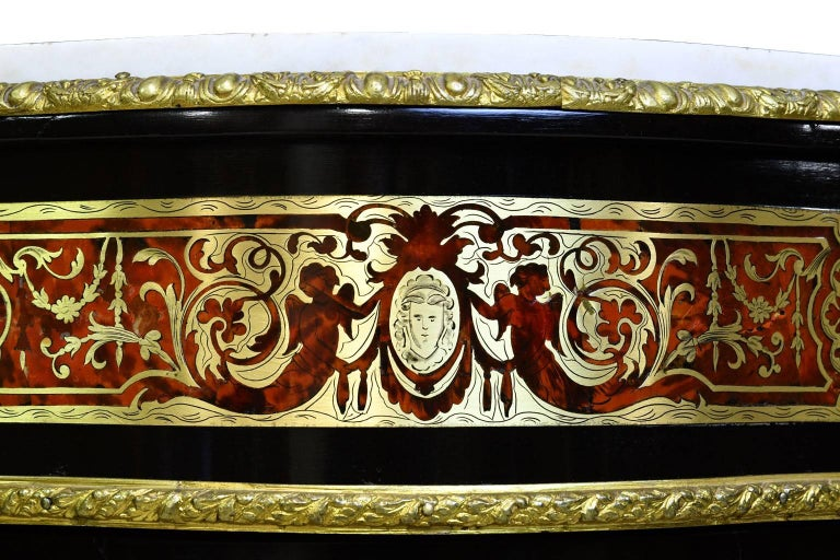 Napoleon III Serpentine-Front Boulle Cabinet w/ Inlays & Marble, France, c. 1880 For Sale 10
