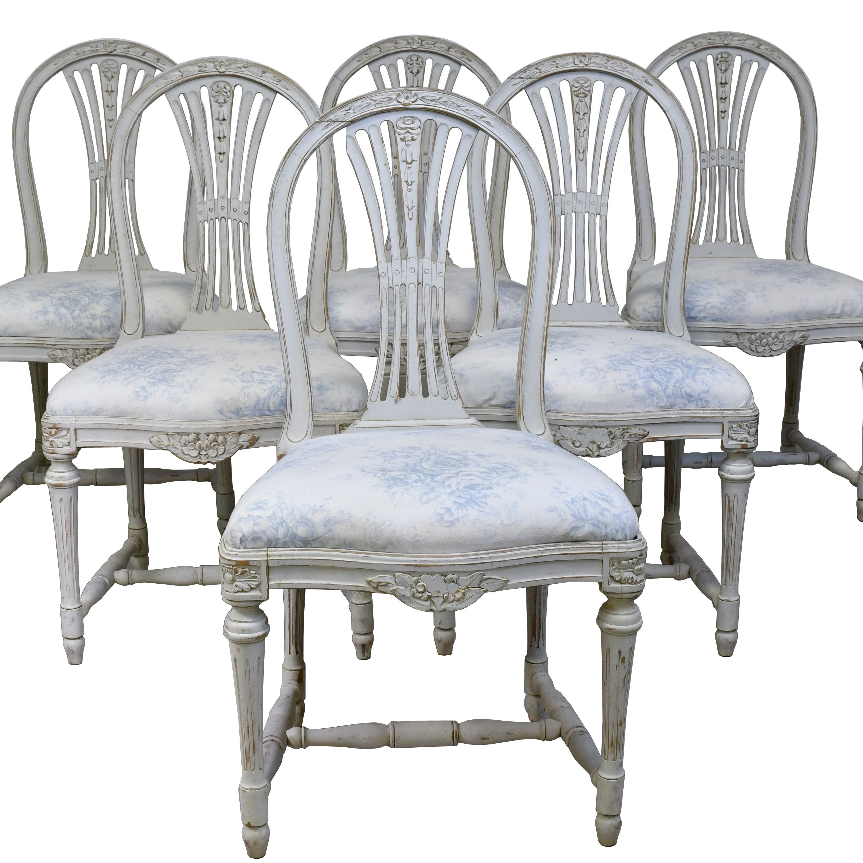 Set Of Six Swedish Gustavian Style Painted Dining Chairs C 1890