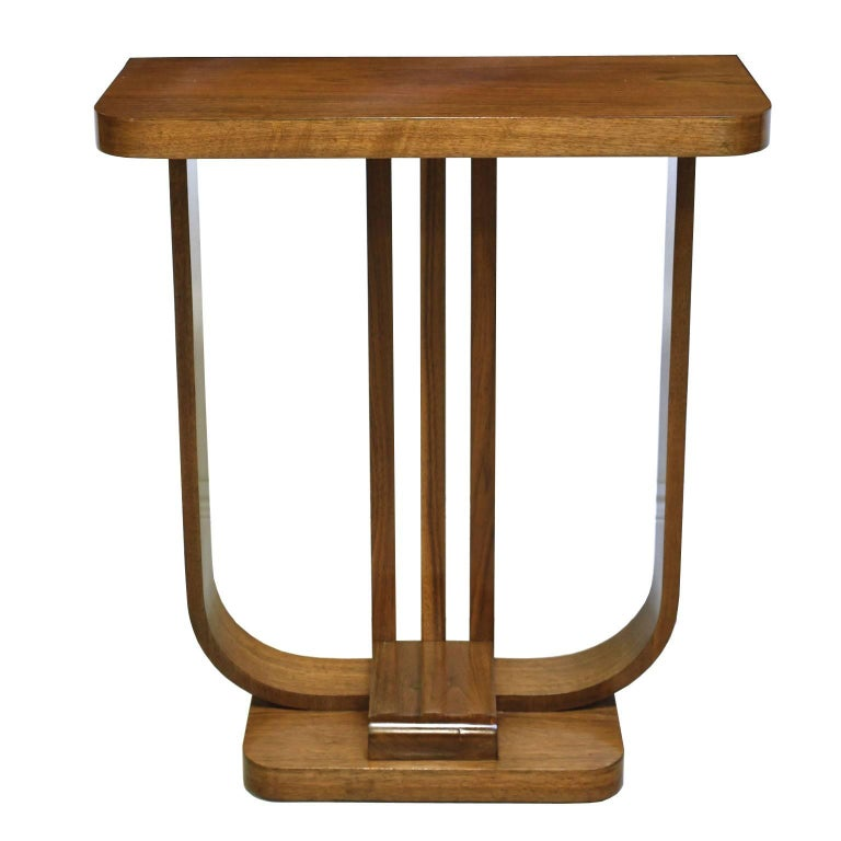 American Art Deco Console Table in Light Walnut, circa 1930s