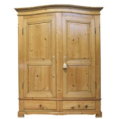 Large Armoire in Pine with Arched Bonnet and Drawers, Germany, circa 1800