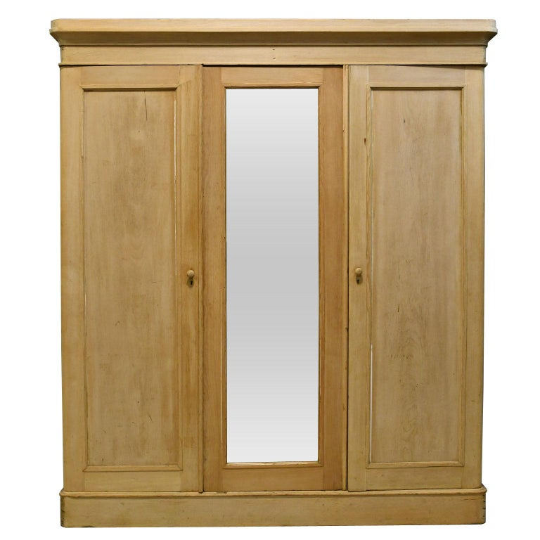 English Edwardian Wardrobe In Pine With Mirrored Door And Interior