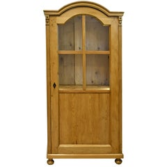 19th Century Austrian Cabinet in Pine with Bookcase or Vitrine and Drawers