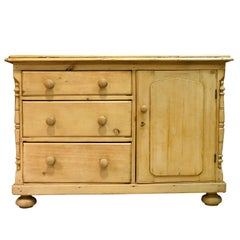 19th Century English Country Pine Dresser with Flight of Drawers and Cupboard