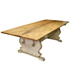 Custom 8' Gustavian Style Farm Farm Table w/ Painted Trestle Base & Maple Top
