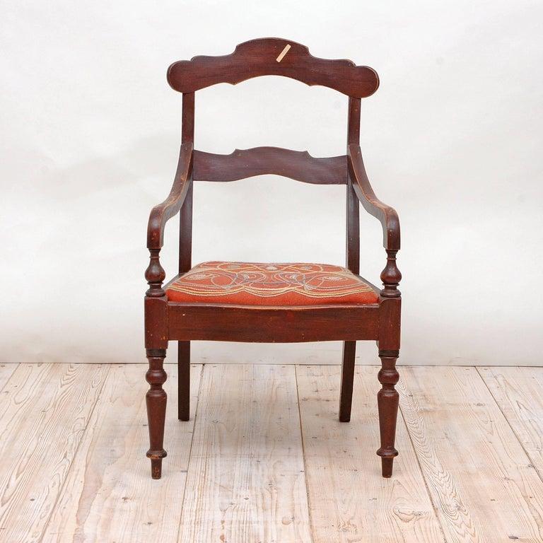 19th Century Collection of Seven Scandinavian Biedermeier/ Empire Armchairs For Sale 3