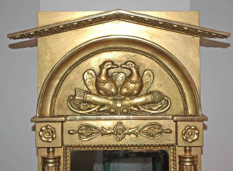 Swedish Karl Johan Empire Gilded Mirror with original glass, Stockholm, circa 1827 For Sale