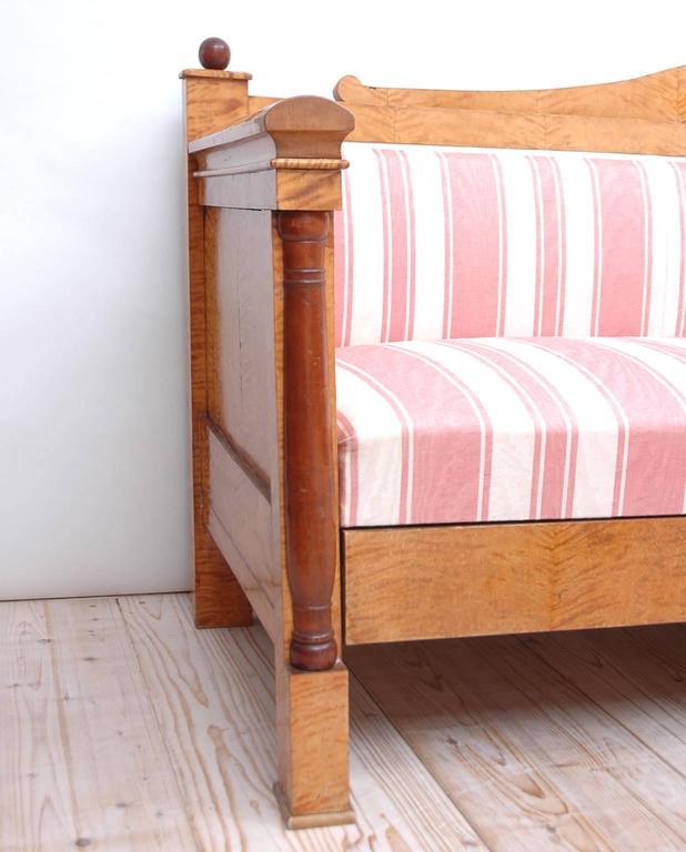 Mid-19th Century Scandinavian Biedermeier Sofa or Upholstered Bench in Birch, circa 1830 For Sale