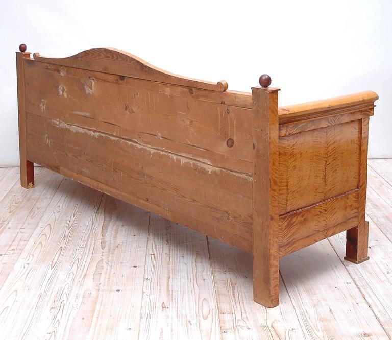 Scandinavian Biedermeier Sofa or Upholstered Bench in Birch, circa 1830 For Sale 3
