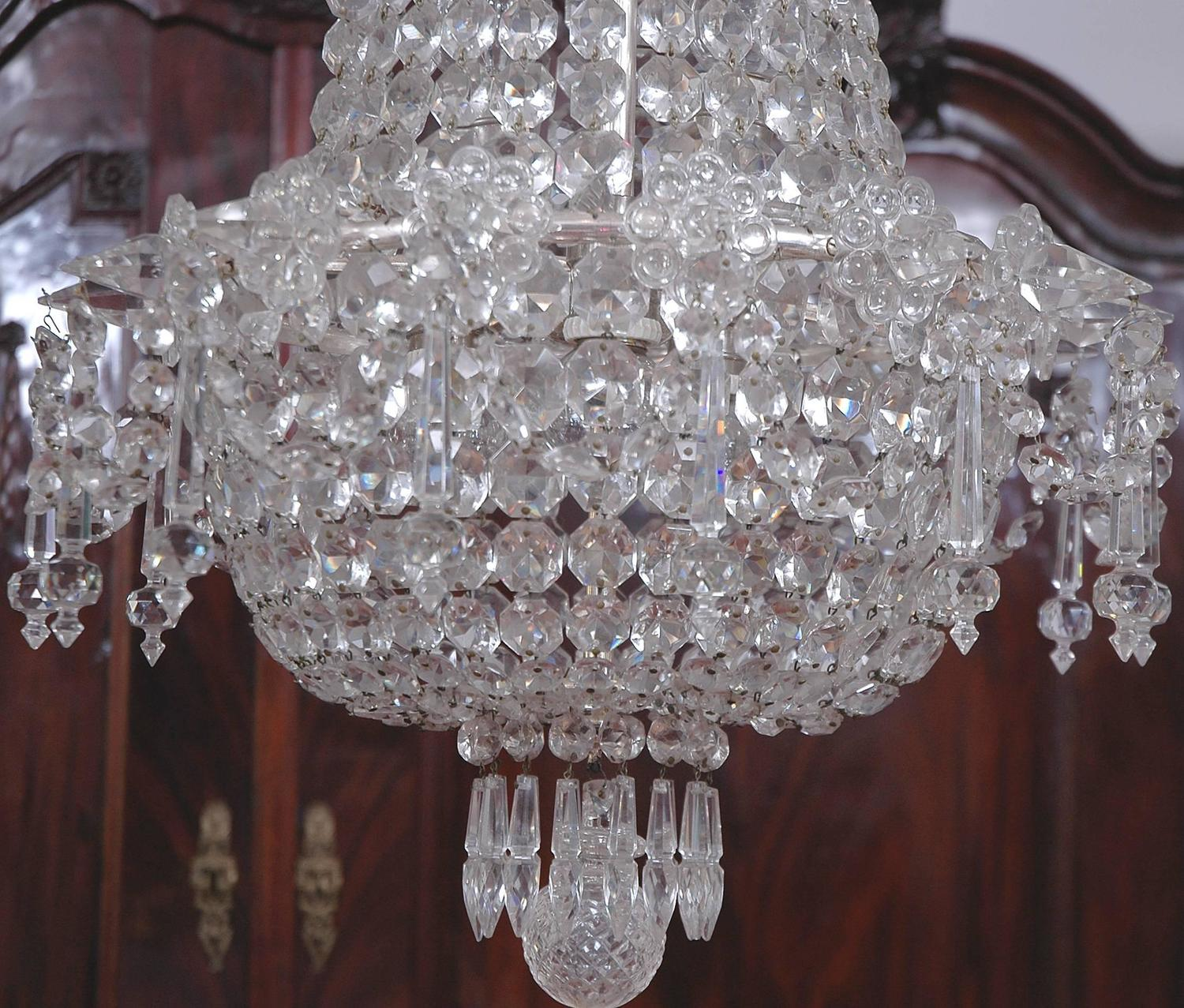 Art Deco Bag and Tent Cut Crystal Chandelier with Chrome