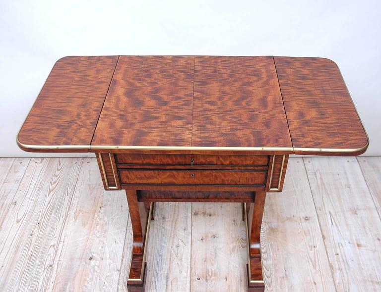 Brass Small English Regency Pembroke Work Table in Highly Figured Plum Mahogany  For Sale