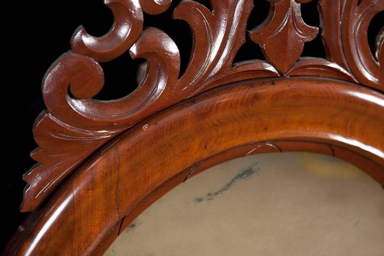 Louis Philippe Danish Antique Decorative Arched Mirror in Mahogany w/ a Carved Bonnet and Swag For Sale