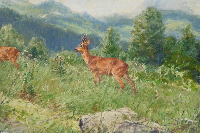 """""""Mountain Side with Deer,"""" oil on canvas by Wilhelm Buddenburg. Painted in region of Trier, Germany.  Wilhelm Buddenburg (1890-1967) German painter. Measures: 32 1/4"""" wide x 24 3/4"""" high."""