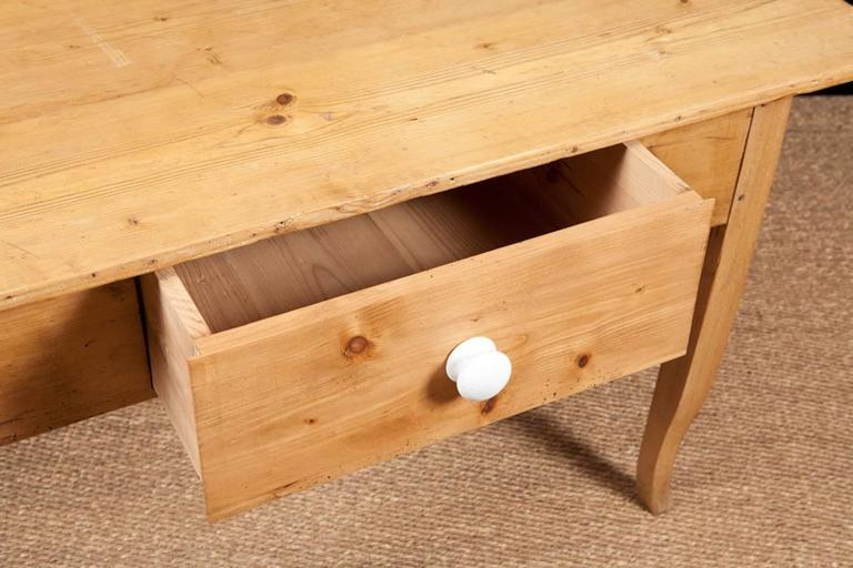 German Biedermeier Country Pine Work Table with Drawer, circa 1825 For Sale