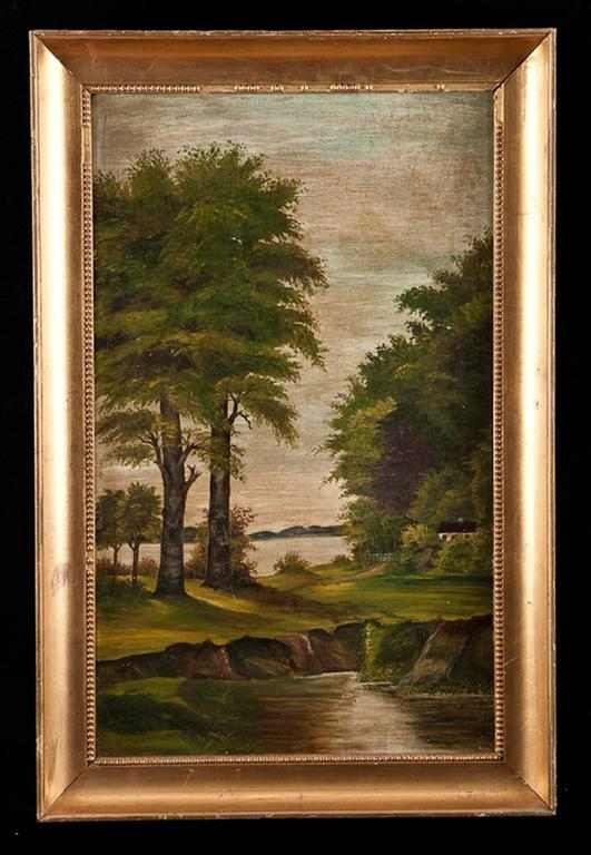 """""""Riverscape with Trees"""", oil on canvas.  Dimensions: 22 1/2"""" wide x 15"""" high."""