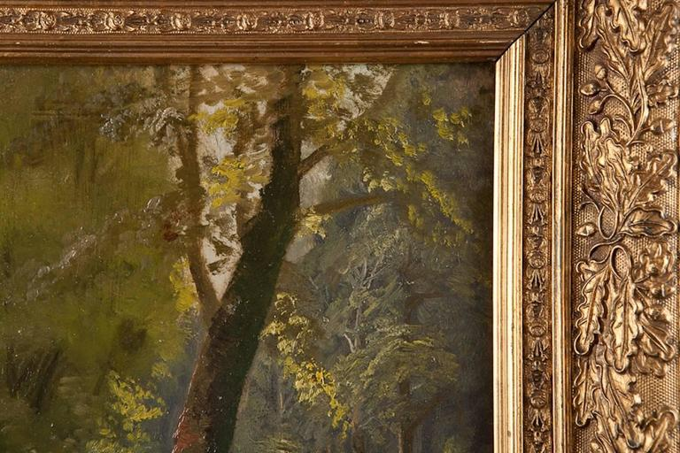 Romantic 19th Century Oil Painting of a Riverscape, Attributed to Peder Mørk Mønsted For Sale
