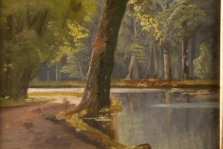 Gilt 19th Century Oil Painting of a Riverscape, Attributed to Peder Mørk Mønsted For Sale