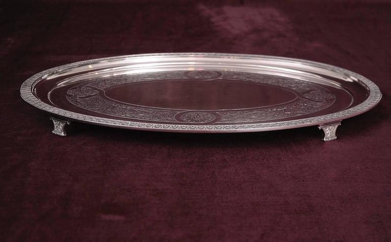 American Classical Tiffany and Co, Silver-Soldered Oval Footed Tray, Dated 1957 For Sale