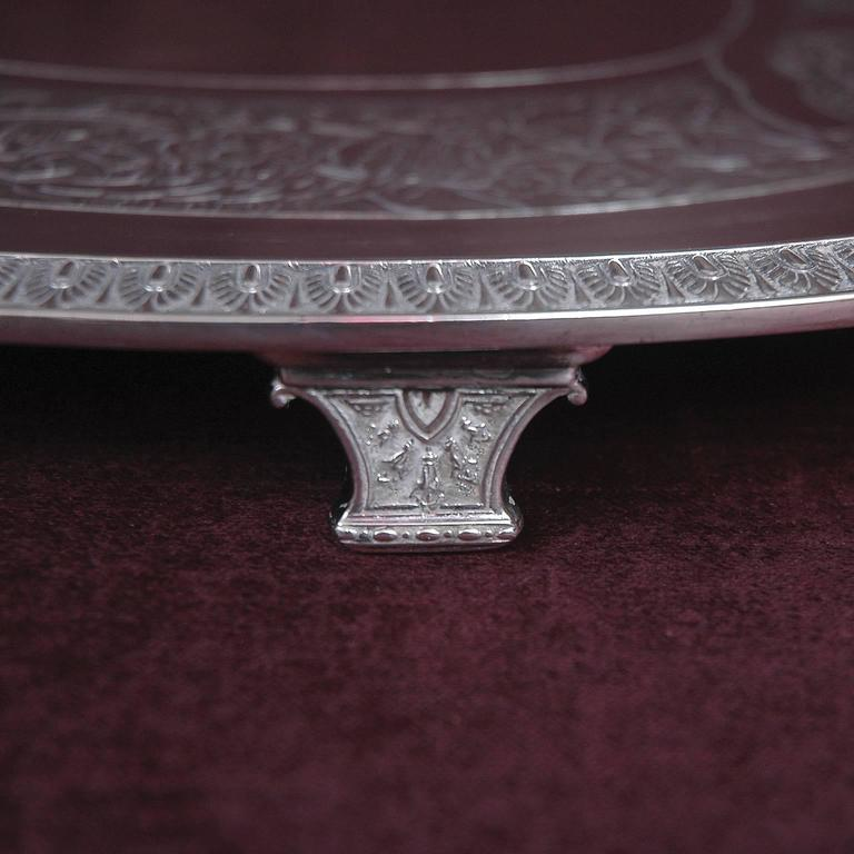 American Tiffany and Co, Silver-Soldered Oval Footed Tray, Dated 1957 For Sale