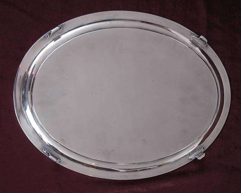 20th Century Tiffany and Co, Silver-Soldered Oval Footed Tray, Dated 1957 For Sale