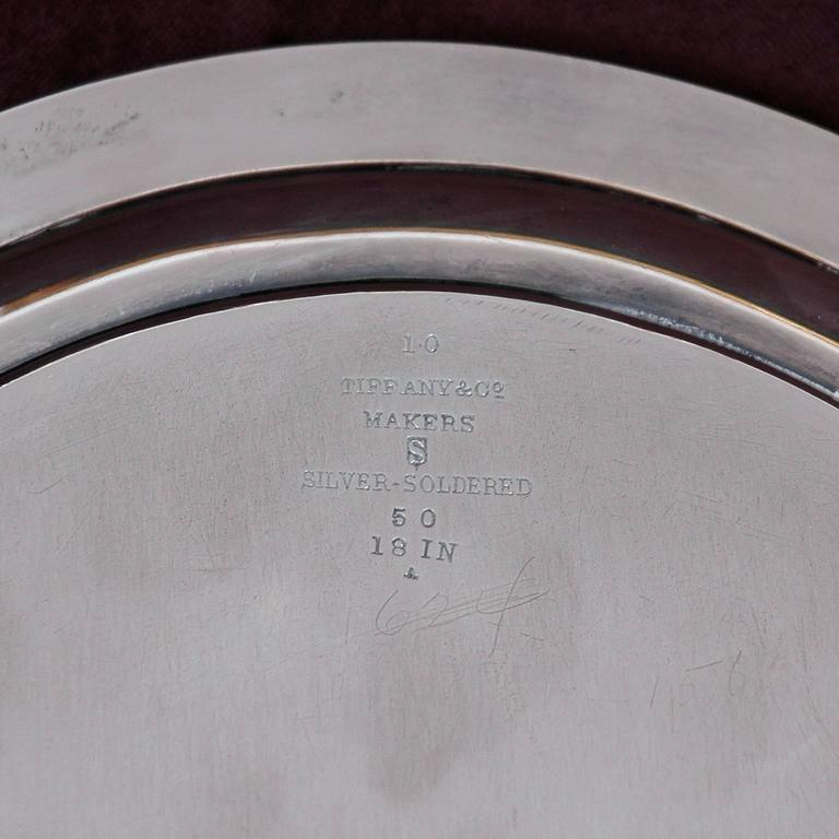 Silver Plate Tiffany and Co, Silver-Soldered Oval Footed Tray, Dated 1957 For Sale
