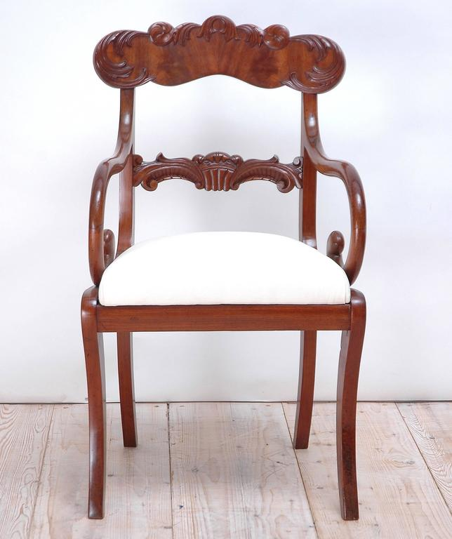 Carved Set of 10 Karl Johan Swedish Dining Chairs For Sale
