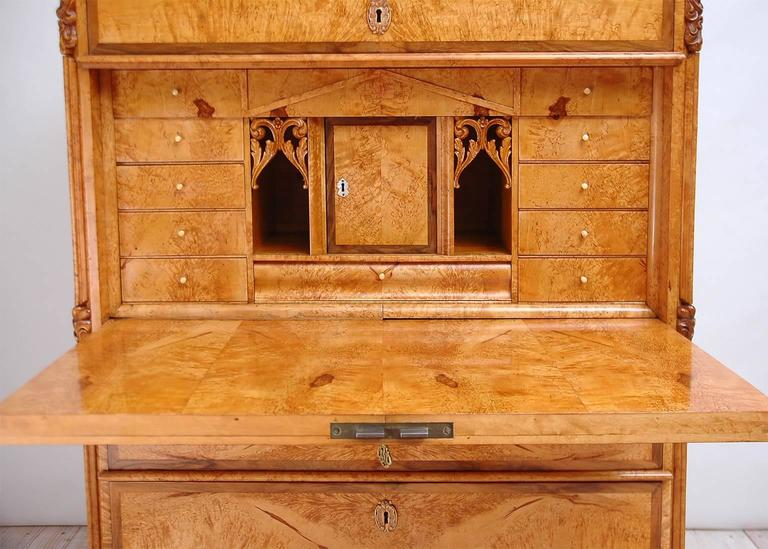 Scandinavian Birch Root Karl Johan Secretary with Flight of Drawers, circa 1850 In Good Condition In Miami, FL