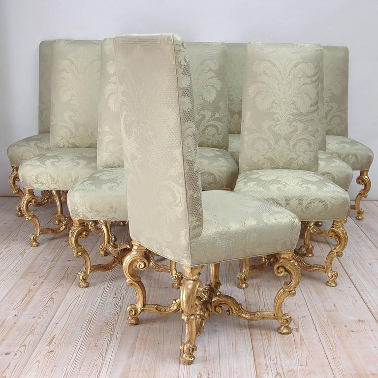 Set Of Ten Venetian Dining Chairs In Carved And Gilded