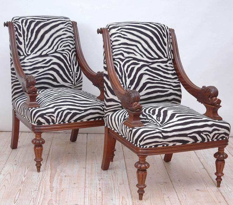 Pair of Upholstered French Napoleon III Bergères with Carved Dolphin circa 1870 In Good Condition For Sale In Miami, FL