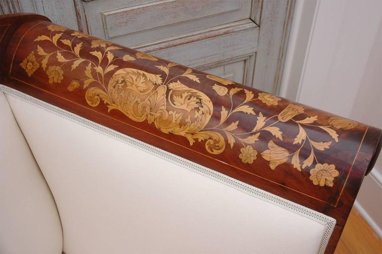 Dutch Empire Marquetry Sofa in Mahogany with Satinwood Inlays, circa 1820 For Sale